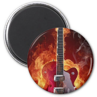 Rock and roll   guitara ímã redondo 5.08cm