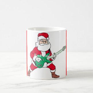 Rock and roll - papai noel, papai noel do rock and caneca de café