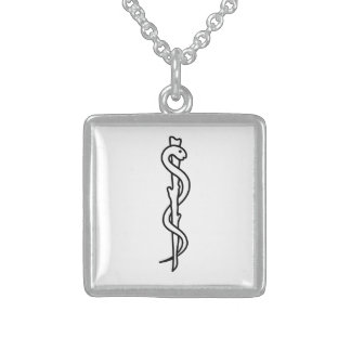 Rod de Asclepius [símbolo médico] Colar Com Pendente Quadrado