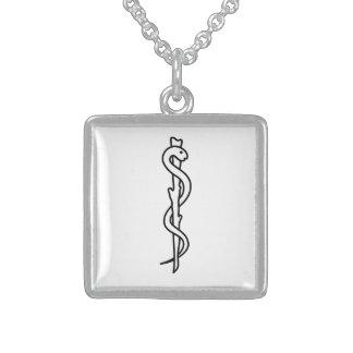 Rod de Asclepius [símbolo médico] Colar De Prata Esterlina