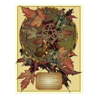 Roda de Wiccan com cartão do Pentacle
