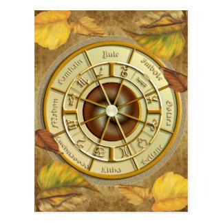 Roda de Wiccan do cartão do ano