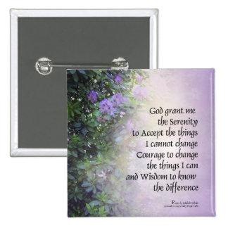 Rododendros e angra da oração da serenidade bóton quadrado 5.08cm