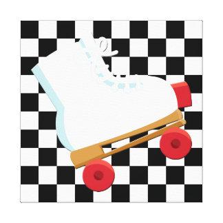 Rollerskate verificado preto e branco retro impressão em tela