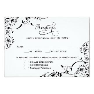 Rolo preto do cartão | da resposta do casamento convite 8.89 x 12.7cm