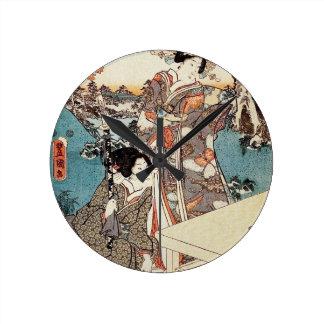 Rolo velho da gueixa japonesa do ukiyo-e do relógio redondo