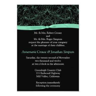Rolos da hortelã e convite verdes do casamento da