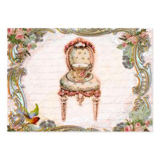 Rolos elegantes & rosas & Teacup cor-de-rosa Cartoes De Visitas