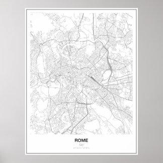 Roma, Italia, poster minimalista do mapa (estilo