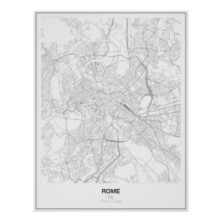 Roma, Italia, poster minimalista do mapa (estilo Pôster