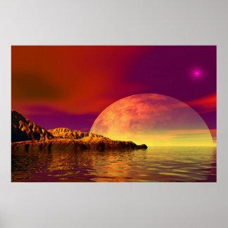 romantic sunset, landscape capa país waterfront, impressão