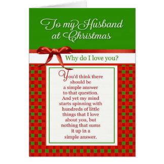 Romântico - a meu marido no Natal Cartão Comemorativo