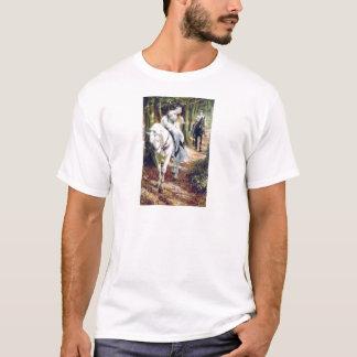 Romântico medieval do cavalo branco da senhora do camiseta
