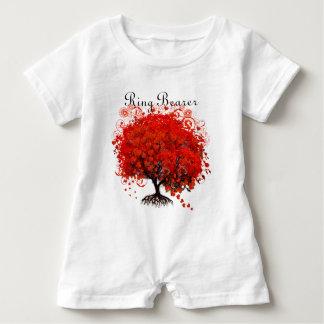 Romper vermelho dos t-shirt do casamento da árvore
