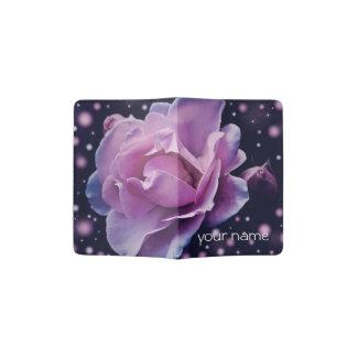 rosa à moda elegante bonito do roxo da flor | capa para passaporte