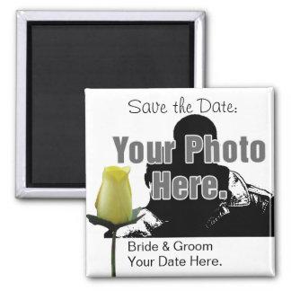Rosa amarelo com sua imã salve a data da foto ímã quadrado
