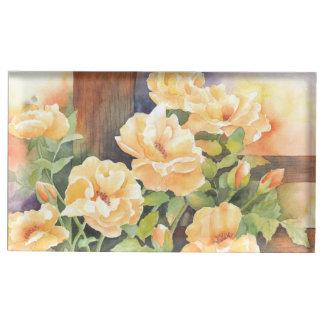 Rosa amarelo da aguarela suportes para cartoes de mesas