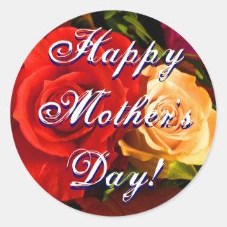 Rosa amarelo vermelho do dia das mães feliz adesivo