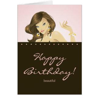 Rosa bonito do cartão de aniversário da mulher
