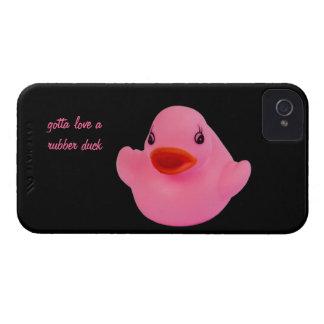 Rosa bonito do pato de borracha, divertimento, capas iPhone 4 Case-Mate