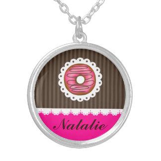 Rosa bonito feminino & nome personalizado colar banhado a prata