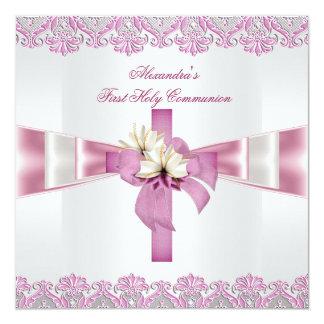 Rosa branco 2 das primeiras meninas transversais convite quadrado 13.35 x 13.35cm