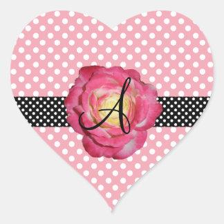 Rosa branco cor-de-rosa do rosa do monograma das adesivo de coração