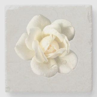 Rosa branco na porta copos da bebida da pedra das porta copos de pedra
