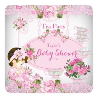 Rosa C floral do laço do vintage do tea party do Convite Quadrado 13.35 X 13.35cm