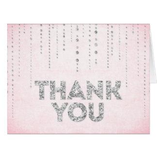 Rosa & cartões de agradecimentos do olhar do brilh