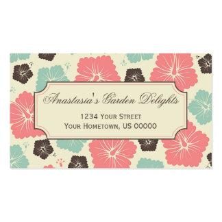 Rosa, cerceta, Brown, flores tropicais do hibiscus Cartão De Visita