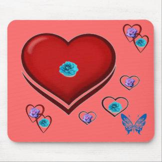 rosa-coração-borboleta mouse pad