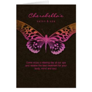 Rosa da borboleta do cartão do folheto do salão de