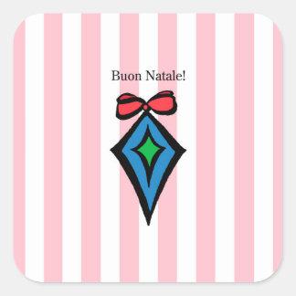 Rosa da etiqueta do ornamento do diamante de Buon Adesivo Quadrado