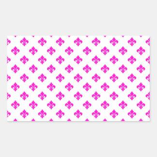 Rosa da flor de lis 1 adesivo em forma retangular
