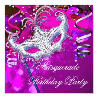 Rosa da prata da máscara do partido do mascarada convite personalizado