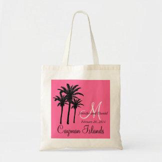 Rosa das palmeiras das sacolas do casamento do des sacola tote budget