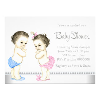 Rosa de bebês adorável e chá de fraldas gêmeo azul convites