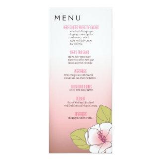 Rosa de florescência do menu do comensal das convite personalizado
