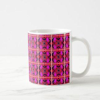 Rosa de Fuschia e design vermelho do azulejo na Caneca De Café