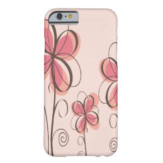 Rosa & design das flores do Doodle de Brown Capa Barely There Para iPhone 6