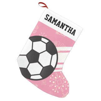 Rosa desportivo personalizado da bola de futebol meia de natal pequena