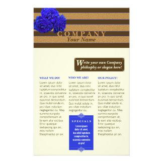 Rosa do azul & bronze - produto/aviador do serviço panfleto
