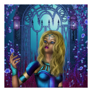 Rosa do azul poster
