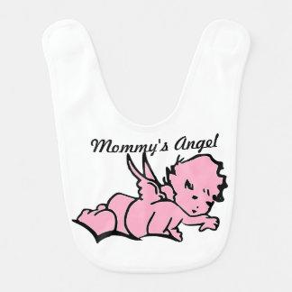 Rosa do babador do bebê do anjo da mamã