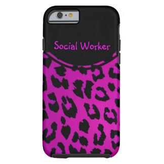 Rosa do caso do iPhone 6 do leopardo do assistente Capa Tough Para iPhone 6
