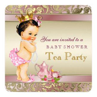 Rosa do chá de fraldas do tea party e pérola do convite quadrado 13.35 x 13.35cm