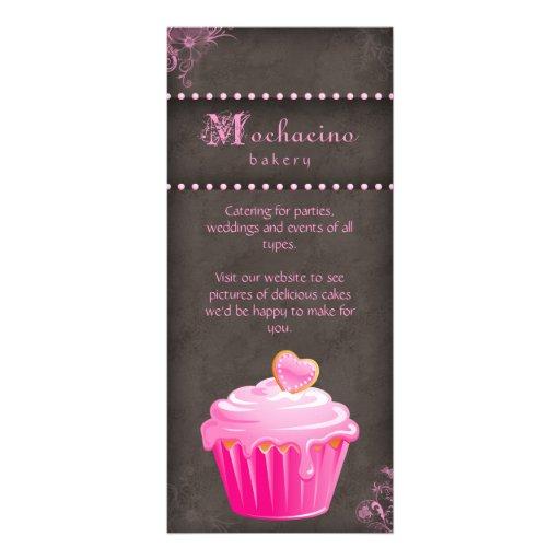 Rosa do cupcake do cartão da cremalheira da padari panfleto informativo personalizado