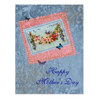 Rosa do dia das mães do vintage floral com cartão postal