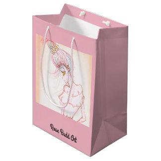 rosa do meio do saco do presente sacola para presentes média